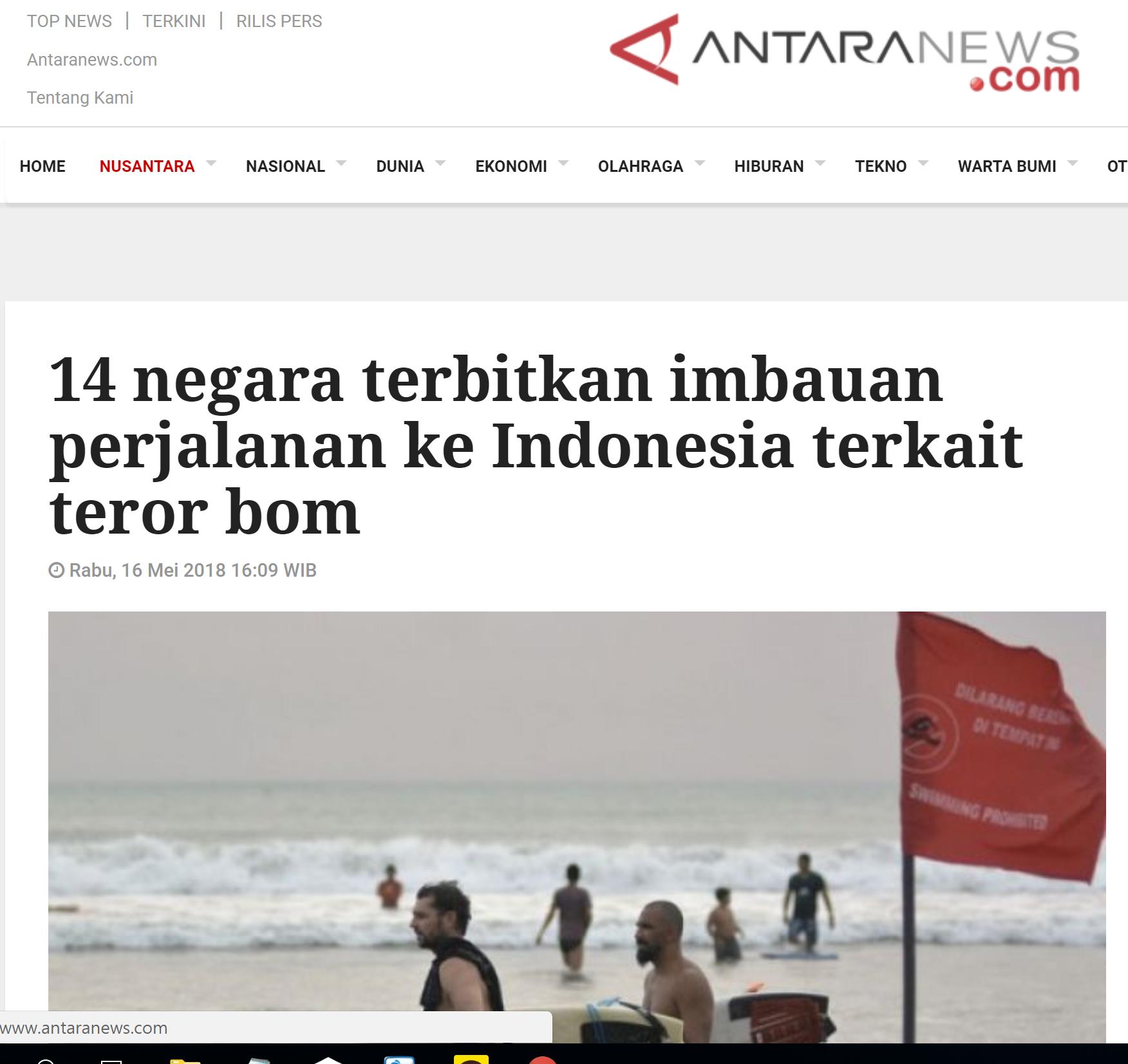 안타라 통신 홈페이지에 테러관련 14개국의 인도네시아 여행 안내를 보도하고 있다.
