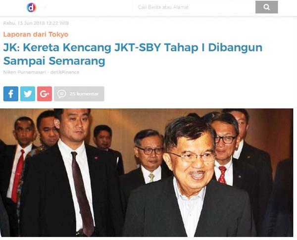 "Jusuf Kalla부통령은 ""내년에 자카르타-스마랑 고속철도 프로젝트 건설이 시작될 것""이라고 말했다고 Detik.com이 보도하고 있다"