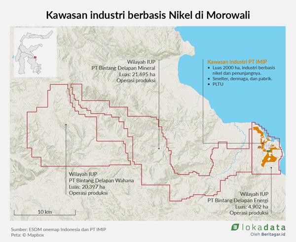 중부 술라웨시주 Morowali 지역 니켈공장 분포도