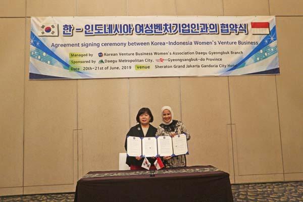 (사)한국여성벤처협회 대구경북지회(회장 이혜용)는 인도네시아 여성기업단체(IWAPI)와 MOU체결을 통해 대구경북의 여성벤처기업인들 간의 지속가능한 네트웍 구축으로 여성기업인들 간의 협업을 통한 상생의 길이 열었다