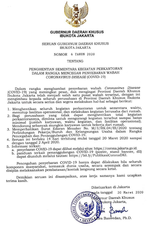 Anies Baswedan 자카르타 주지사 3월20일자로 자카르타에서 코비드-19 감염자 확산으로 사무실과 근무자에 대한 휴무 권고내용 공문